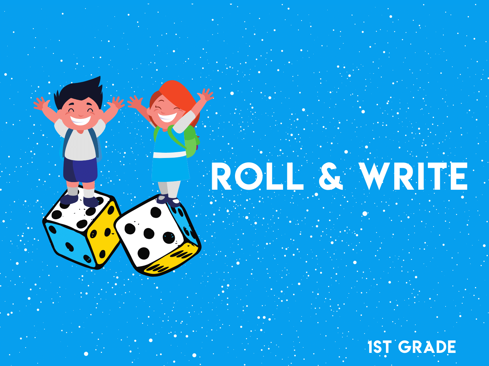 Roll the dice, write the numbers, then add them up in this first grade math resource.