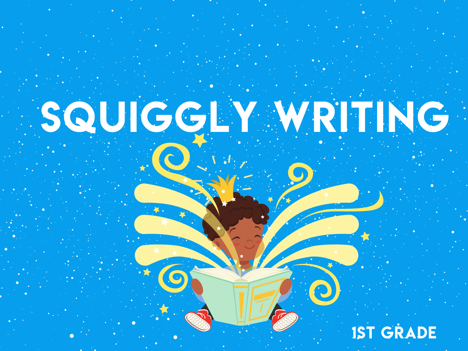Squiggly writing activity for first graders to work on creativity and sentence writing.