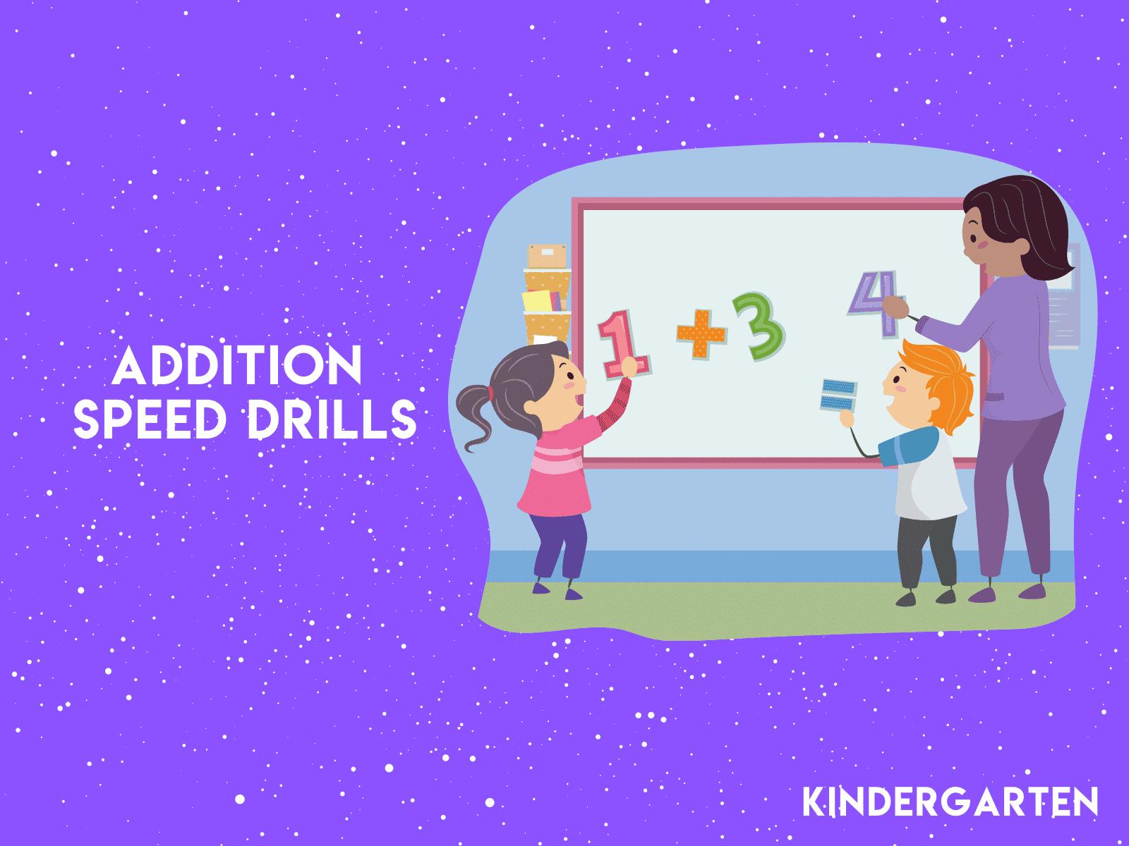 Practice math facts fluency with free kindergarten addition speed drills.