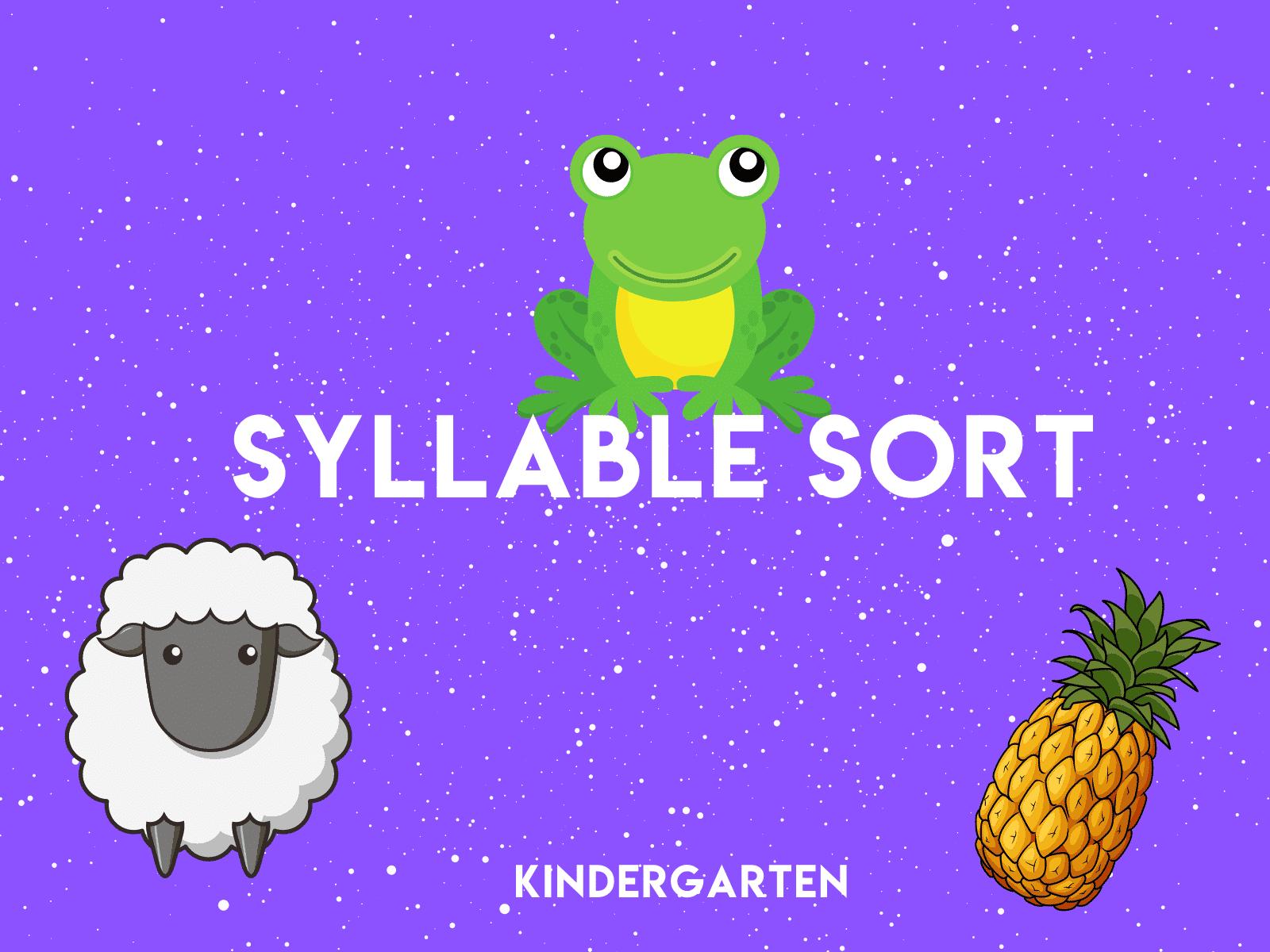 Kindergarten Syllable Sort | Free distance learning resource for kindergarten reading