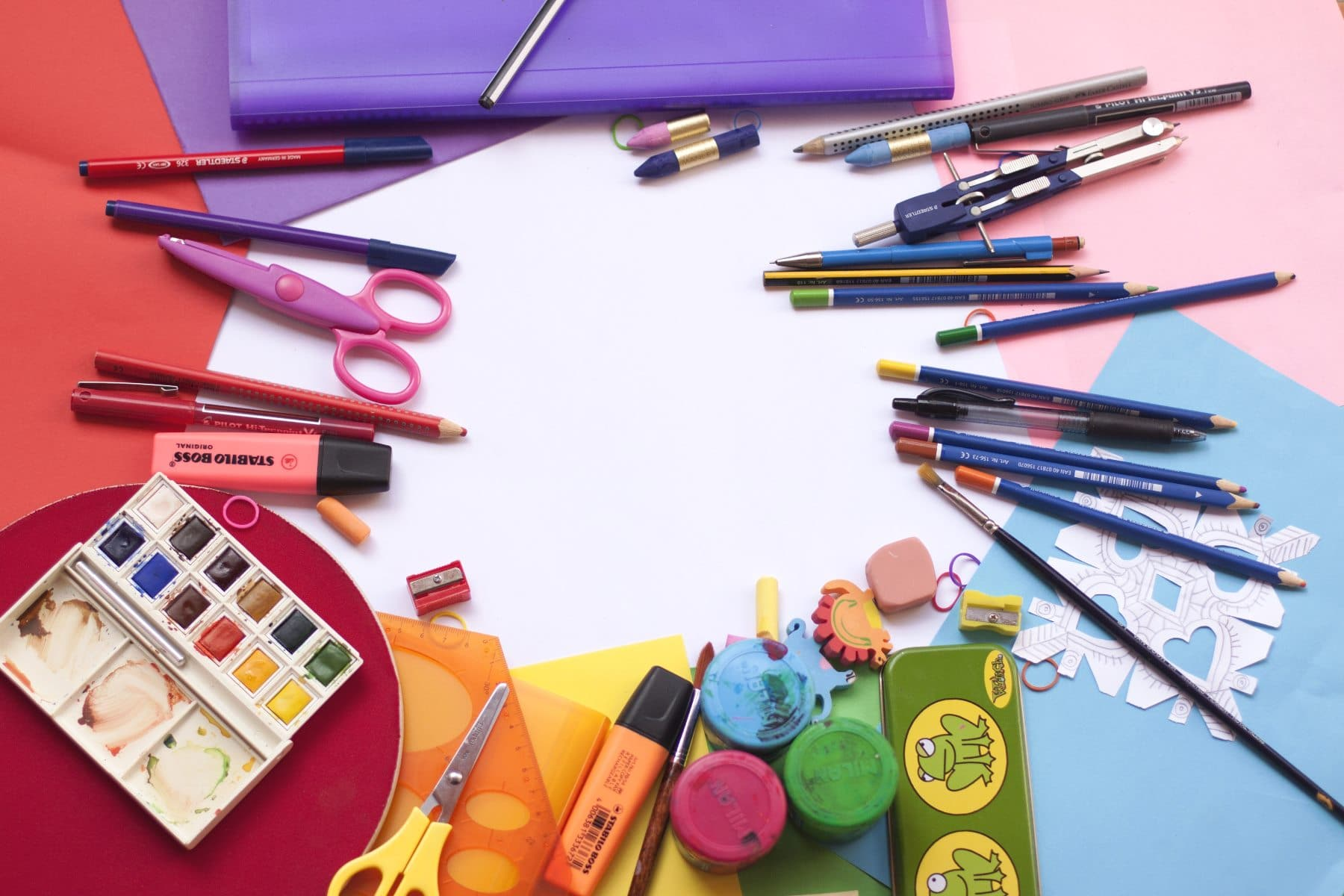 a desk full of must have homeschool supplies
