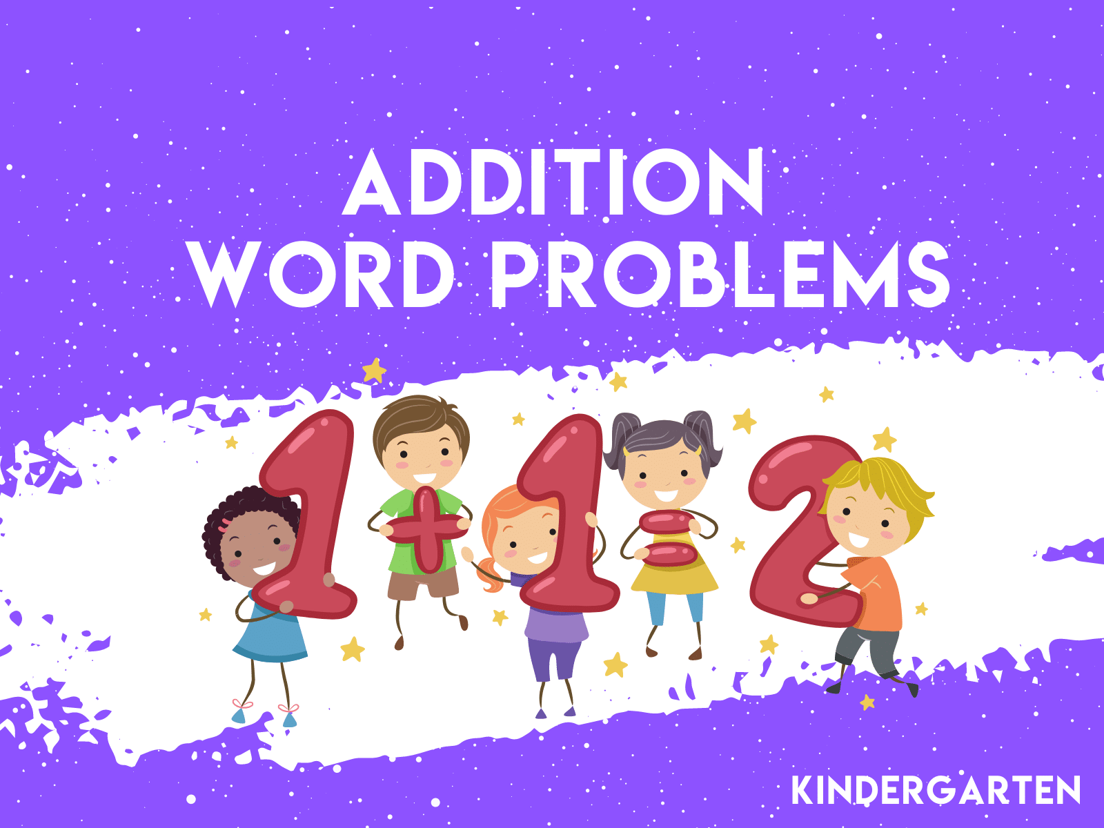 Free learning resources for kindergarten students to learn addition word problems.