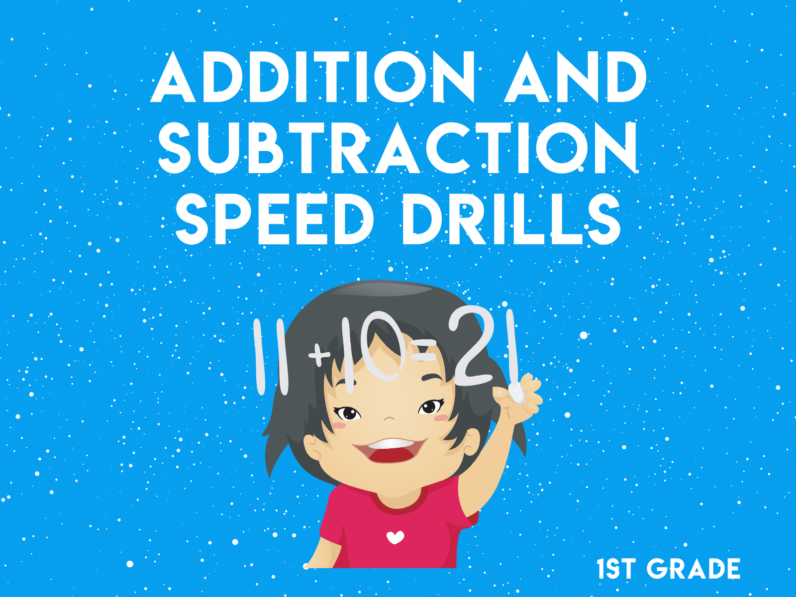 Addition and subtraction speed drill free worksheet for first grade.