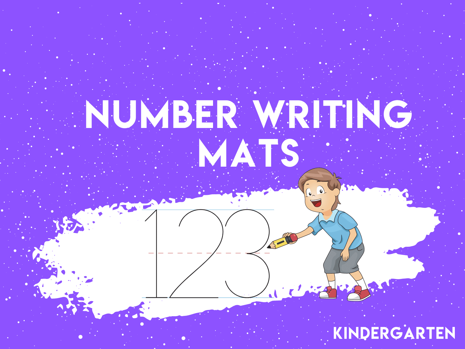 Number writing mats help kindergarten students learn to form numbers.