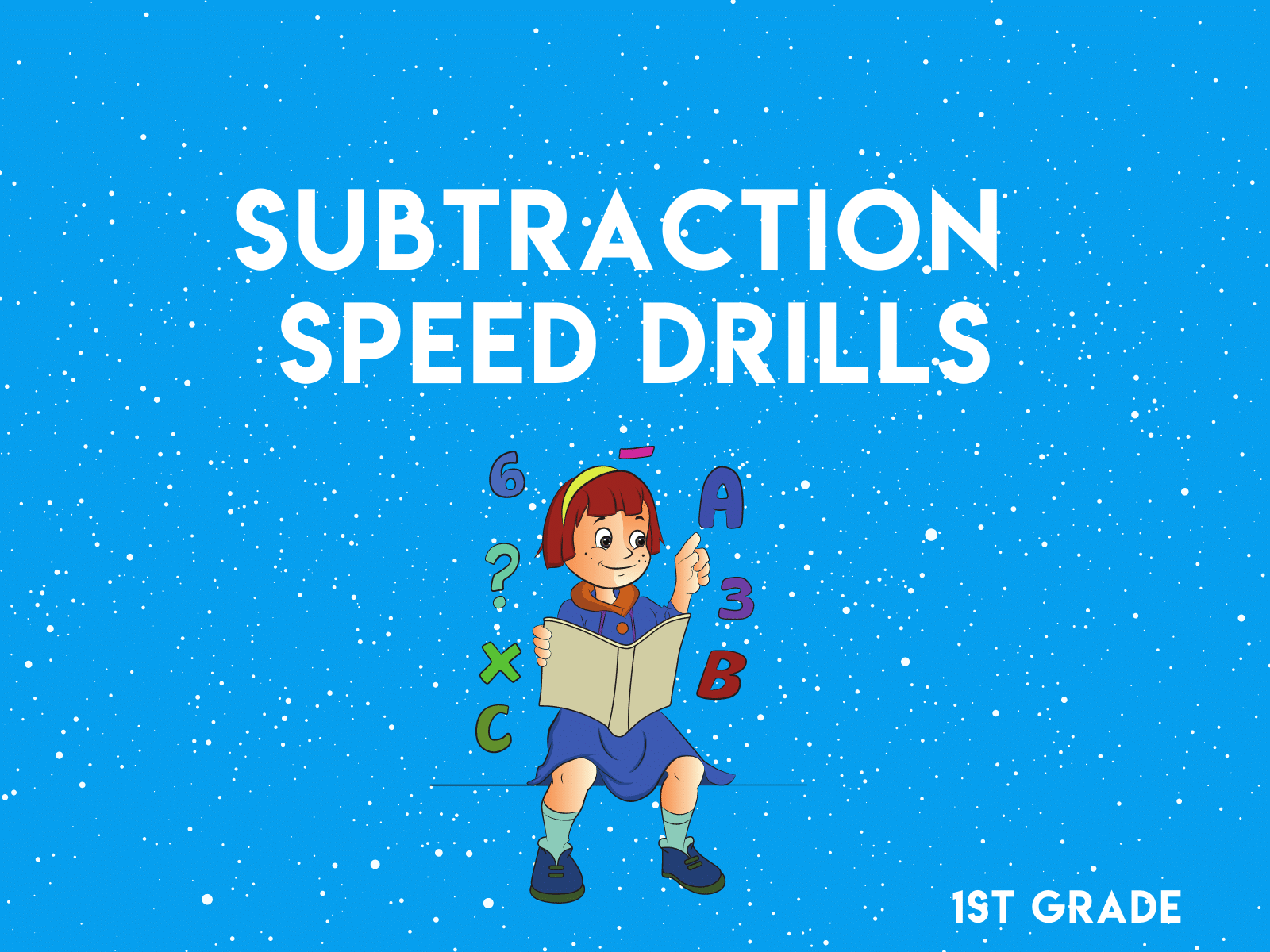 Free subtraction speed drills for first grade math resource.