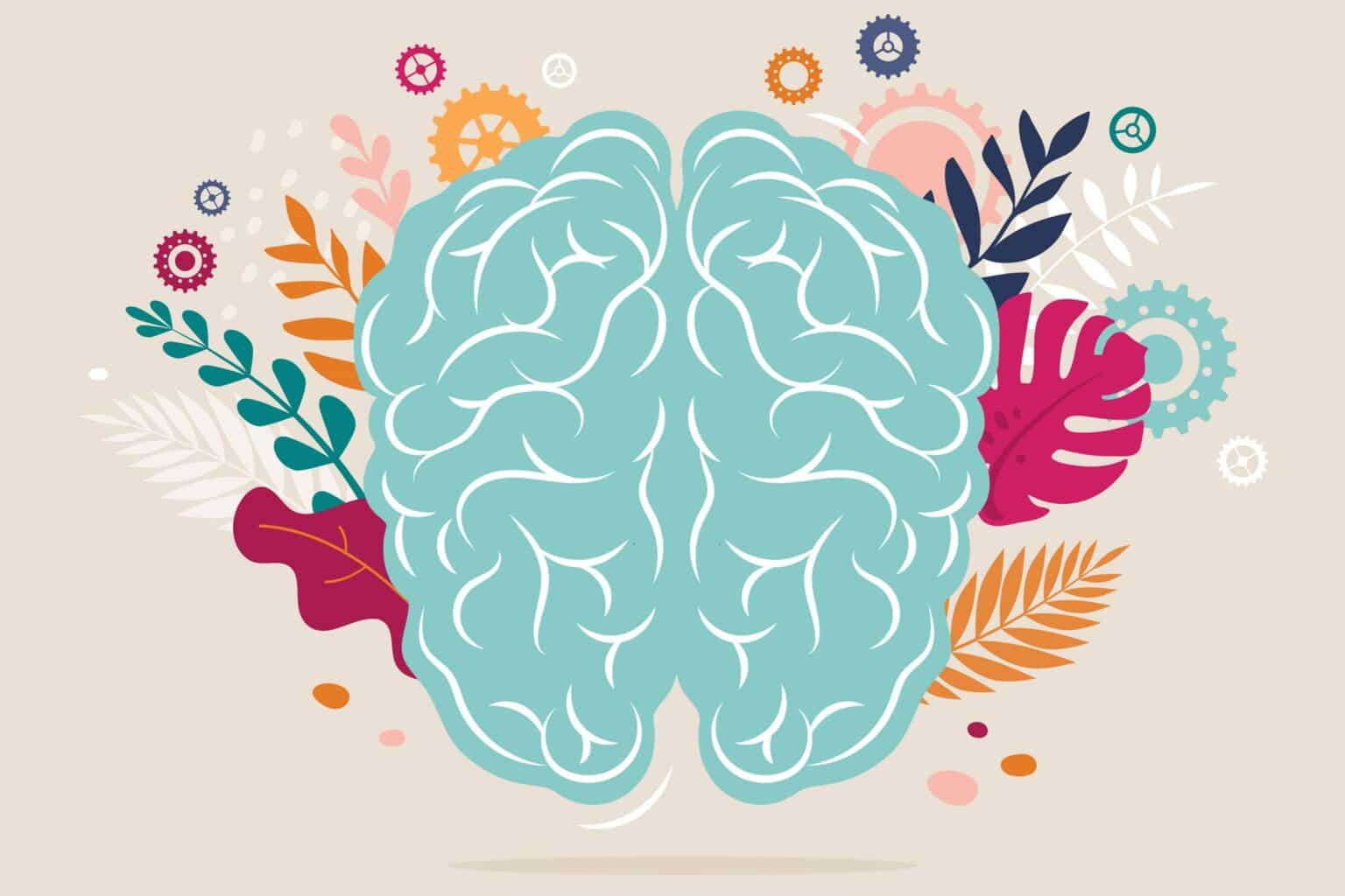 Decorative image of colorful brain and blooming images of leaves and flowers bursting from the sides.